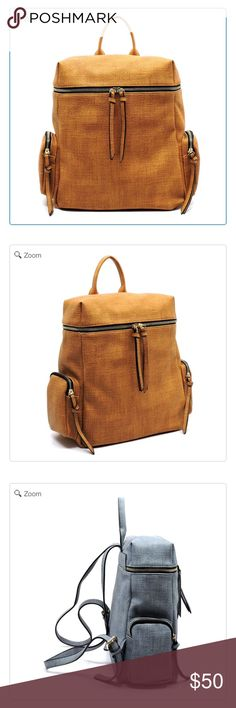 NEW Textured Backpack Designer inspired handbag NEW Faux vegan leather Zip top closure Gold-tone hardware L 11 * H 12 * W 5 Textured Backpack: Brown Color As Shown Bags Backpacks