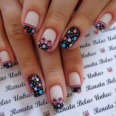 55 Modelos de Unhas Decoradas com bolinhas para te inspirar Love Nails, Pretty Nails, My Nails, Gel Nail Art Designs, Cute Nail Designs, Ring Finger Nails, Seasonal Nails, Polka Dot Nails, Nail Manicure