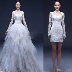 Wholesale 2014 Long Sleeve Convertible Wedding Dresses 2 in 1 Sheath High Neck Lace Little White Dresses with Removable Ball Gown Tulle Skirt Vestidos, Free shipping, $198.34/Piece | DHgate Mobile