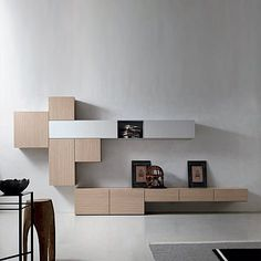 TV media unit Wood by Santa Lucia, modern design furniture composition. Minimalist Italian living room furniture. L 413.1 - H 210 - D 38.6/49.3 cm