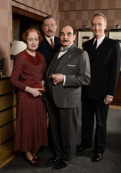 Miss Lemon, DCI Japp, Poirot and Captain Hastings