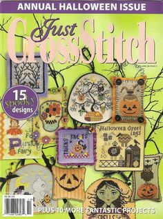 NOTE: The Collection on CDfeatures nearly 200 patterns from Just Cross Stitch 2011 Halloween book and the Just Cross Stitch Halloween Collection from Fully searchable PDF and printer-friendly charts are included. Cross Stitch Magazines, Cross Stitch Books, Just Cross Stitch, Beaded Cross Stitch, Cross Stitch Charts, Cross Stitch Embroidery, Cross Stitch Patterns, Halloween Ornaments, Halloween Books