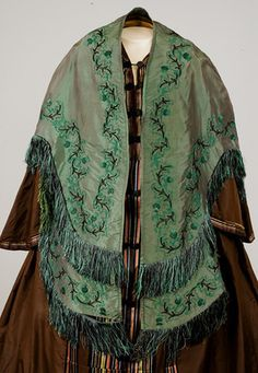 Embroidered Silk Mantle, Mid 19th C