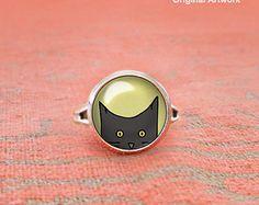 Peeking Black Cat Ring, Cat Adjustable Ring, Glass Dome Ring, Statement Ring, Yellow Eyed Cat