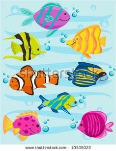 stock vector : Fun cartoons tropical fish set