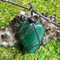 Aventurine wire wrapped jewelry pendant. Visit www.lunavim.com