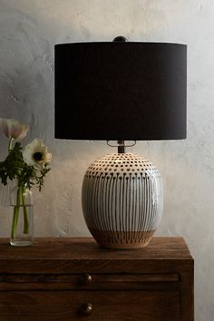 Uteki Painted Table Lamp by Anthropologie in Black, Lighting Bedside Table Lamps, Bedroom Lamps, Lamp Table, Desk Lamp, Ceramic Table Lamps, Wall Lamps, Diy Table, Ceiling Lamp, Wall Sconces