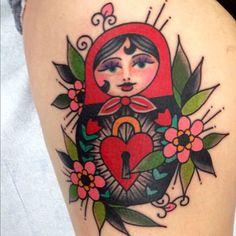 tattoome: Matryoshka #tattoo by Brad Stevens instagram : brad_stevens Brads line work is flawless. Such neat work.