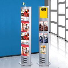 Infosäule small, 165 x 40cm - für DIN A4 Formate, DIN A5 und DIN-lang (Faltprospekte).