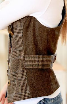 recycled vest, made from a suit. Classic Vest sewing pattern from Indygo Junction