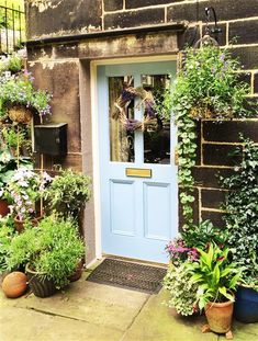 Pretty country style front door painted in Farrow & Ball Lulworth Blue Exterior Doors, Exterior Paint, Interior And Exterior, Farrow And Ball Paint, Farrow Ball, Farrow And Ball Lulworth Blue, Outside Paint, Painted Front Doors, House Front Door