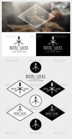 Royal Locks Logo  #GraphicRiver         Royal Locks is a classy identity mark ideal for high-end hair salons, stylists or barbers.  What's Included  	 100% Editable & Resizable Vectors Easily edit, change and scale colors, text and positioning.  	 Multiple Variaritons Vertical and