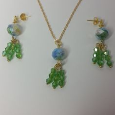 Millefiori Crystal and Green Crystal Earrings & Pendant Set Style 2 Price: £13.99 #jewelleryset#millefiori#crystals#earrings#necklace#gift#dangle#handmade#spring#flowers#charm#party#goldplated#copper#green#yellow#blue#white#gold#jewellery