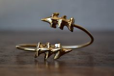 TRIPLE CHOMP /// 24kt Gold or Silver Electroformed Shark Teeth Cuff Bracelet /// Lux Divine Jewelry