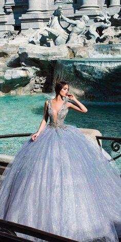colourful wedding dresses princess ball gown blue deep plunging v neckline sleeveless endritmertiri