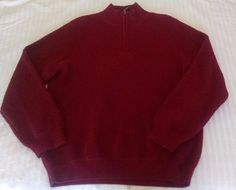LL Bean Mens Pure Cashmere Sweater L Burgundy Maroon 1/4 Zip Waffle Knit Weave #LLBean #14Zip
