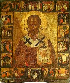 Nikola (Saint Nicholas) with Scenes from His Life. The templar icon of The Church of Assumption in Meletovo village near Pskov. Second half of the XVI century. State Tretyakov Gallery