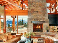 Mountain Living fireplace.