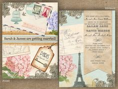 Vintage Postcard Destination Wedding TRAVEL Paris Praque New York Barcelona Wedding Invitation FRONT AND REVERSE Stationery by In the Treehouse