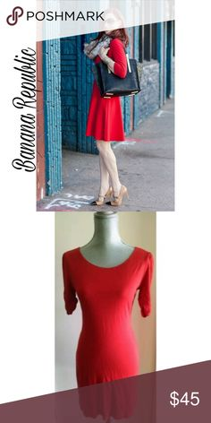 🍁🍂Banana Republic Dress🍁🍂 Super cute red dress. Ruched & 3/4 sleeves🍁🍂 Banana Republic Dresses Mini