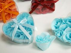 Heart Rose Soap Petals Turquoise