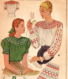 UNCUT * Romantic Ladies' Blouse with Smocking Design - McCall Pattern 1197 * with Embroidery Transfers * Bust 30 to 32 Smocking Patterns, Mccalls Patterns, Print Patterns, Blouse Patterns, Embroidery Patterns, Vintage Dress Patterns, Vintage Dresses, Vintage Outfits, Embroidery Transfers