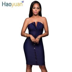 2017 Off Shoulder Denim Dress Women New Fashion Slim Party Sexy Dresses Backless Strapless Elegant Jeans Bodycon Dress Vestidos... - Street Fashion
