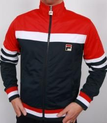 Fila Vintage Vilas Court Tracksuit Top in Navy/Red/White. As seen on Danny Dyer in The Business.