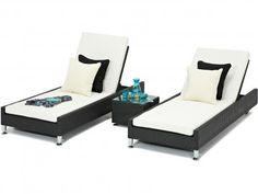Black Rattan Luxury Sun Loungers