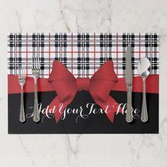 Red Black Tartan Plaid and Ribbon Cute Kids Party Placemat - Xmas ChristmasEve Christmas Eve Christmas merry xmas family kids gifts holidays Santa