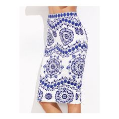SheIn(sheinside) Blue And White Porcelain Print Pencil Skirt ($8.99) ❤ liked on Polyvore featuring skirts, blue, pencil skirt, print skirt, print pencil skirt, knee high skirts and stretch skirts