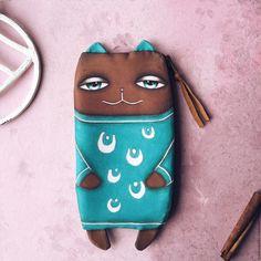 Cute case   Купить Кейс бирюзовый кот - тёмно-бирюзовый, орнамент, кейс, сумочка, пенал, органайзер, клатч