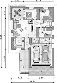 Rzut parteru projektu Bursztyn Plus Modern House Plans, Small House Plans, Modern House Design, Small Villa, House Blueprints, Building Plans, Planer, Architecture Design, Floor Plans