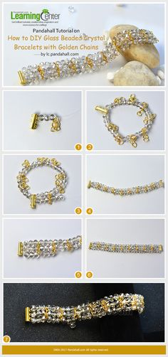 Pandahall Tutorial on How to DIY Glass Beaded Crystal Bracelets with Golden Chains