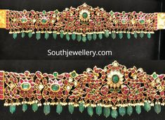 22 Carat gold antique peacock vaddanam adorned with kundans, polki diamonds, pearls and emerald beads by Mangatrai Pearls And Jewe Indian Gold Jewellery Design, Antique Jewellery Designs, Indian Jewelry, Jewelry Design, Bridal Jewelry, Gold Jewelry, Jewelery, Mughal Jewelry, Vaddanam Designs