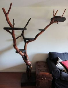 25 Indoor Cat Tree Ideas For Play And Relax - Styles & Decor Diy Jouet Pour Chat, Cat Climber, Cat Climbing Tree, Cat Tree House, Diy Cat Tree, Cat Towers, Cat Shelves, Cats Diy, Pet Furniture