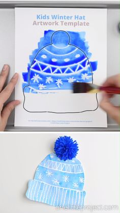 This winter hat art project for kids is such a fun winter craft idea! Use the free printable winter hat template to have a fun day of crafting at home or in the classroom! This process art idea lets you experiment with creating texture in watercolor. And it shows the magic of painting over crayon with watercolour paint!