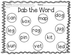 Bingo dabber FREEBIE on TPT! Activities to teach beginning sounds and CVC words.