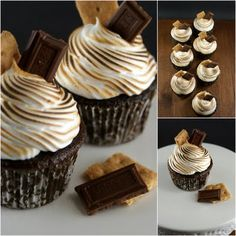 Chocolate S'mores Cupcakes #recipes #cupcakes #chocolate