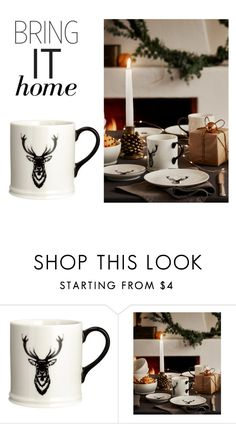"""""""Bring It Home: Porcelain Mug with Motif"""" by polyvore-editorial ❤ liked on Polyvore featuring interior, interiors, interior design, home, home decor, interior decorating and bringithome"""
