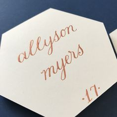 Metallic Copper and cream hexagon place card, calligraphy Place Card Calligraphy, Calligraphy Ink, Beautiful Calligraphy, Wedding Calligraphy, Wedding Seating Display, Wedding Table Assignments, Ink Color, Wedding Designs, Your Cards