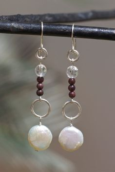 White pearl and sterling silver dangle by FlowerOfParadise on Etsy