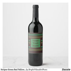 Shop Stripes Green Red Yellow Grey Wine Label created by BrightVibesArtPhoto. Champagne Label, Green Gifts, Wine Label, Customized Gifts, Green Colors, Stripes, Yellow, Bottle, Grey