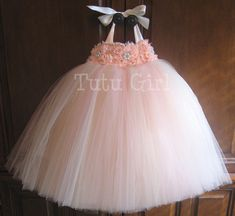 Blush Tutu Dress Flower Girl Dress Peach Champagne Ivory