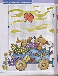 schema punto croce trenino orsetti | Hobby lavori femminili - ricamo - uncinetto - maglia