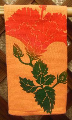 Hawaiian Red Hibiscus on Orange by HibiscusTextiles on Etsy, $10.00