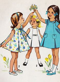 1960s Girls A Line Summer Dress Vintage Sewing Pattern