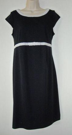 Motherhood Maternity Womens Black Short Sleeve Tie Back Dress w/ White Bow Sz S #MotherhoodMaternity #Shift #WeartoWork