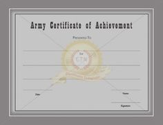 Certificate of achievement template awarded for different army certificate of achievement template certificate template yelopaper Images