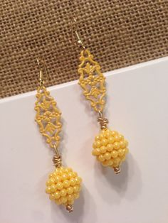 yellow dangle earrings filigree earrings by piddlygirldesigns, $12.95